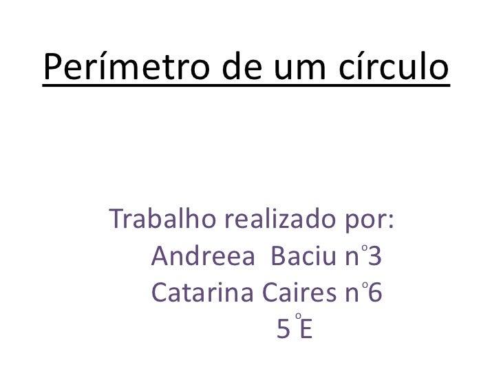 Perímetro de um círculo   Trabalho realizado por:                       o      Andreea Baciu n 3                       o  ...