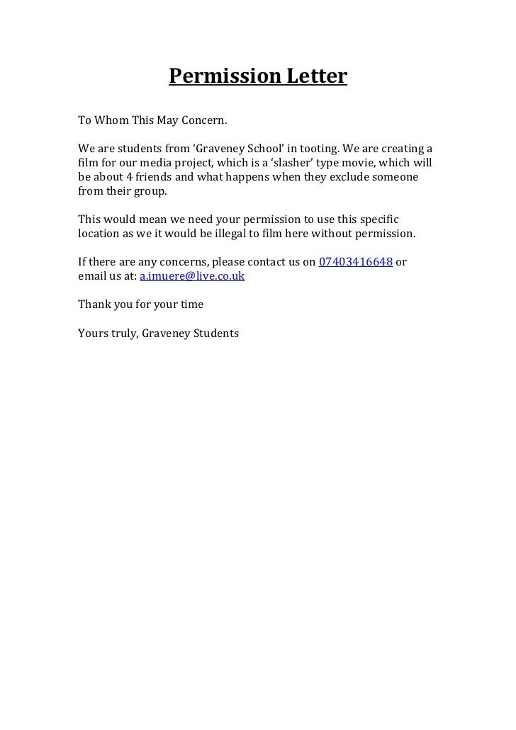 Permission Letter For Location