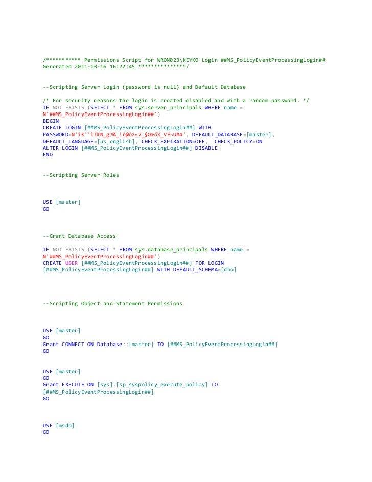 Permissions script for SQL Permissions