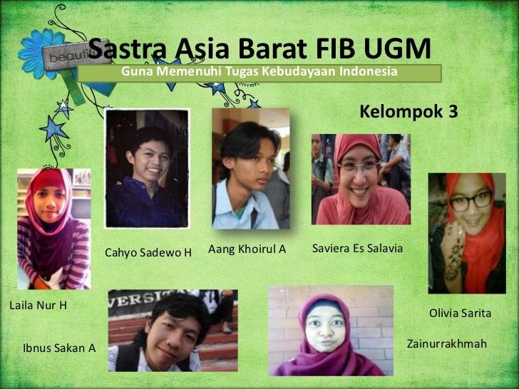Sastra Asia Barat FIB UGM                    Guna Memenuhi Tugas Kebudayaan Indonesia                                     ...