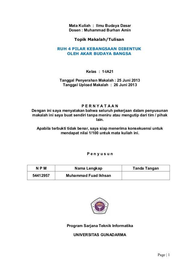 Mata Kuliah : Ilmu Budaya Dasar Dosen : Muhammad Burhan Amin Topik Makalah/Tulisan RUH 4 PILAR KEBANGSAAN DIBENTUK OLEH AK...