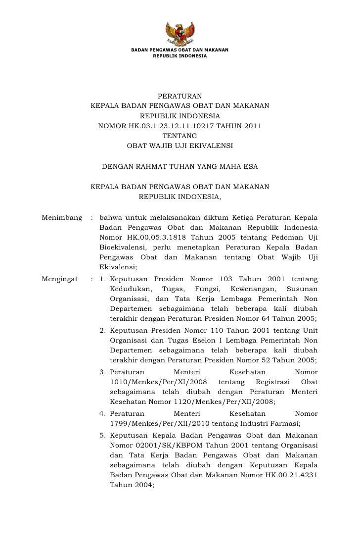 Peraturan Kepala Badan POM tentang obat wajib uji ekivalen