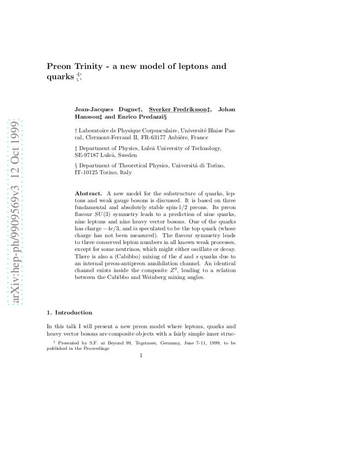 Preon Trinity - a new model of leptons and                                     quarks 1                                   ...
