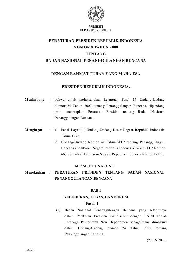 PRESIDEN                                     REPUBLIK INDONESIA                                            -1-            ...