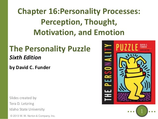 Chapter 16:Personality Processes: Perception, Thought, Motivation, and Emotion The Personality Puzzle Sixth Edition by Dav...