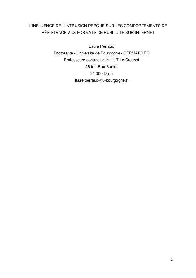 L'INFLUENCE DE L'INTRUSION PERÇUE SUR LES COMPORTEMENTS DE     RÉSISTANCE AUX FORMATS DE PUBLICITÉ SUR INTERNET           ...