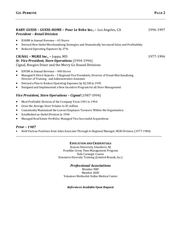 gilbert perrone resume retail executive