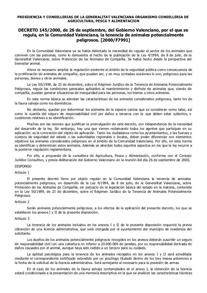 PRESIDENCIA Y CONSELLERIAS DE LA GENERALITAT VALENCIANA ORGANISMO CONSELLERIA DE                         AGRICULTURA, PESC...