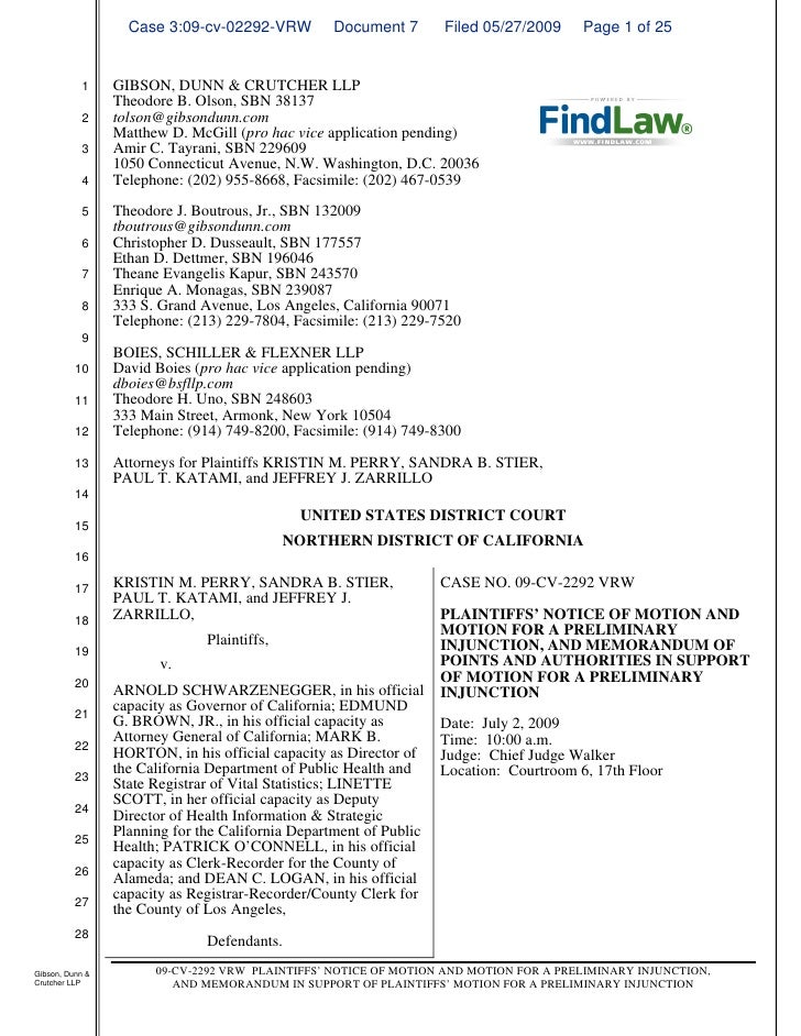 FindLaw | Motion for Preliminary Injunction - Prop. 8 Suit