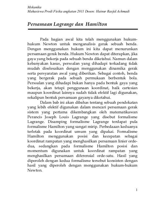Persamaan lagrange dan hamilton