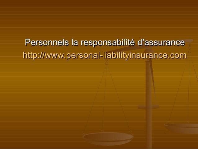 Personnels la responsabilité d'assurance