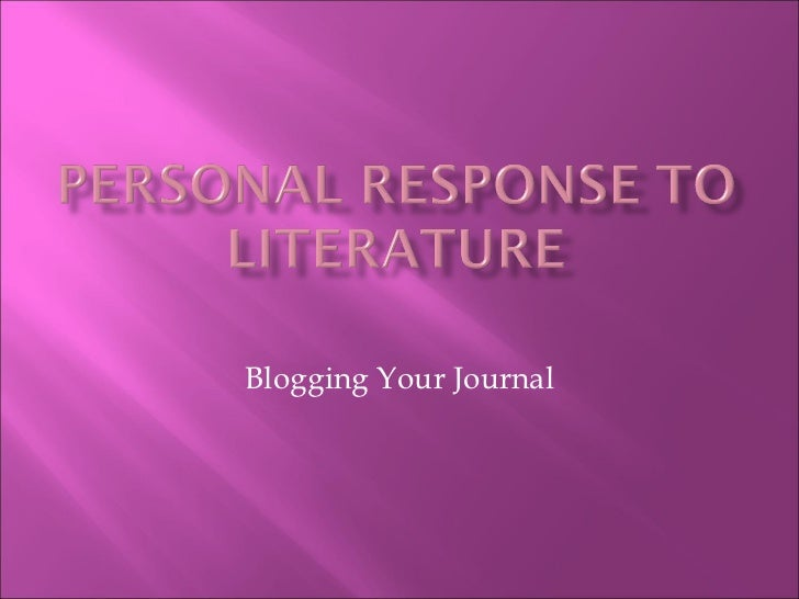 Blogging Your Journal