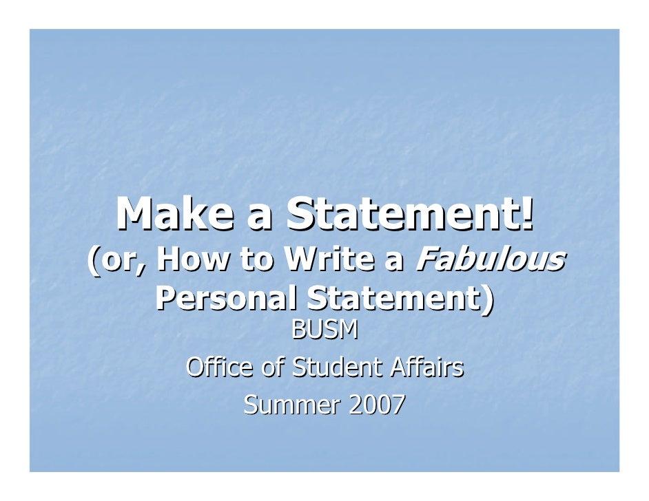 Personal Statement Workshop 2008