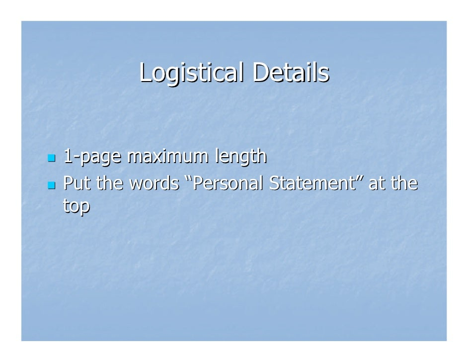 Length of personal statement