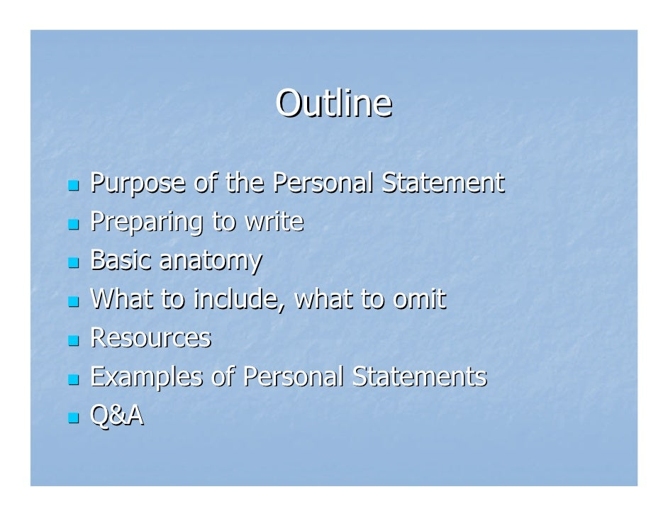 Personal statement outlines