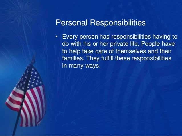 personality responsibility essay Being honest and taking responsibility for your actions are admirable understanding examples of personality traits is a great way to start the journey into self.