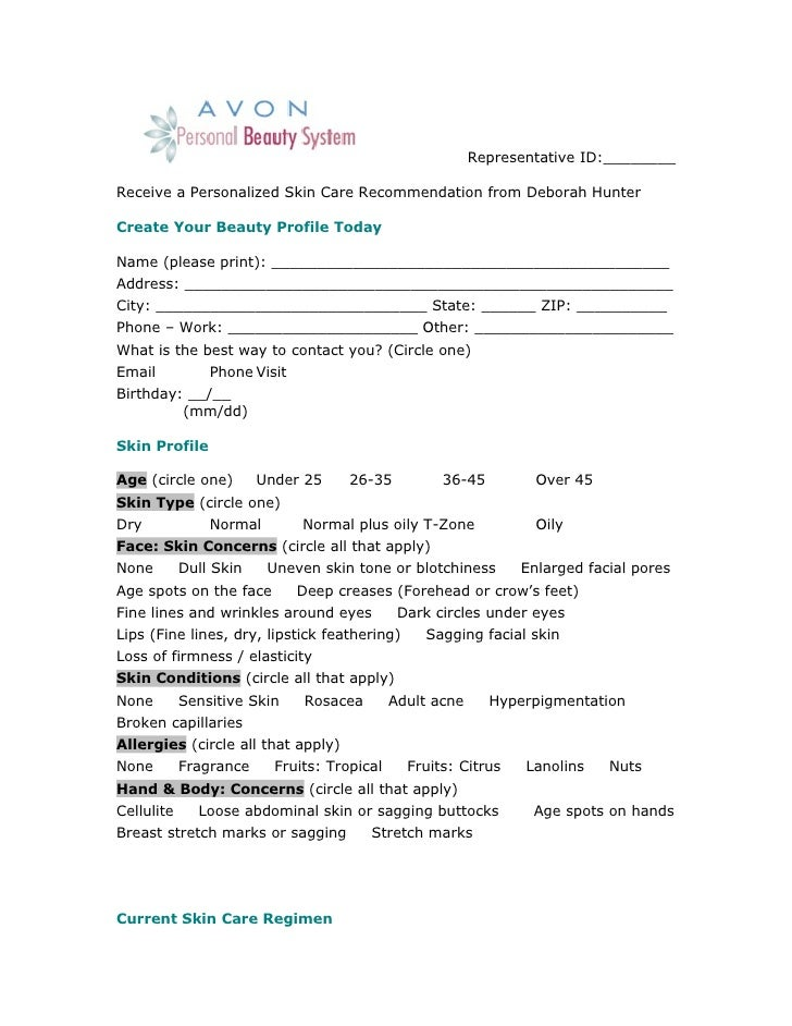 Personal beauty questionaire
