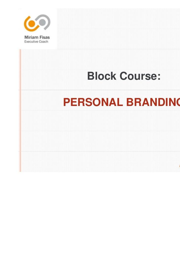 Block Course:PERSONAL BRANDING