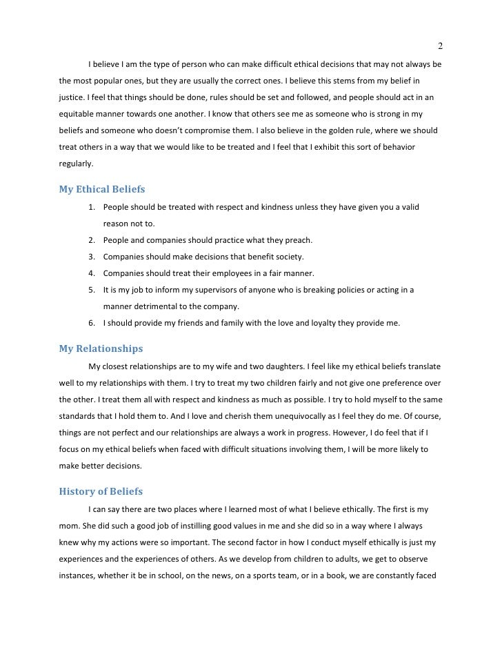 personal ethics 2 essay Personal code of ethics - essay example my personal code of ethics involves moral and social responsibility issues, fair treatment of customers and colleagues.
