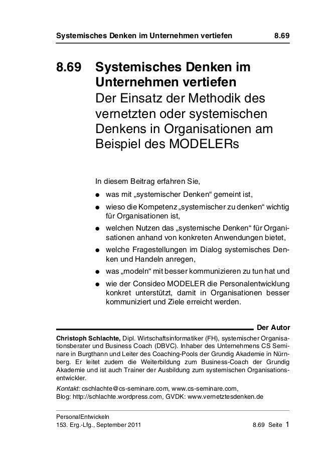 Systemisches Denken im Unternehmen vertiefen 8.69 PersonalEntwickeln 153. Erg.-Lfg., September 2011 8.69 Seite 1 8.69 Syst...