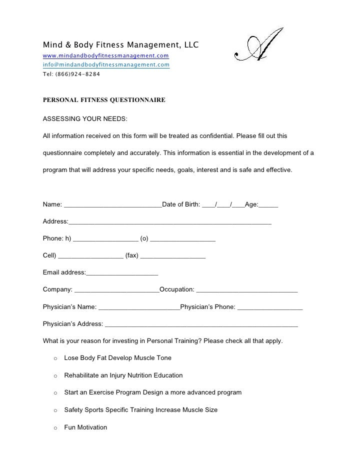Personal Fitness Questionaire