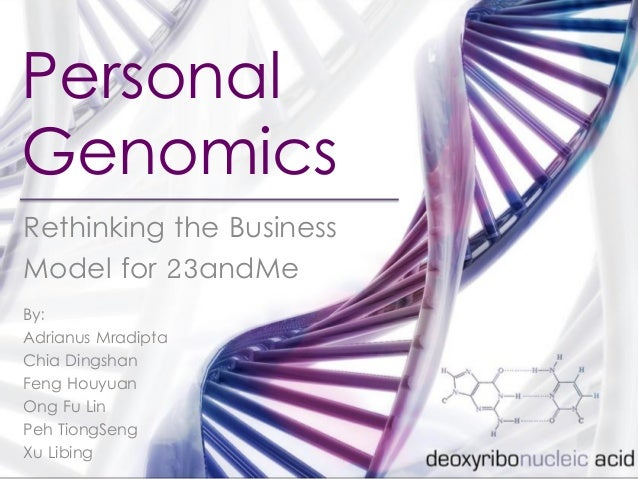 Personal Genomics Rethinking the Business Model for 23andMe By: Adrianus Mradipta Chia Dingshan Feng Houyuan Ong Fu Lin Pe...