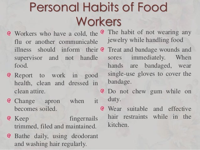 Good Personal Habits Of Food Workers