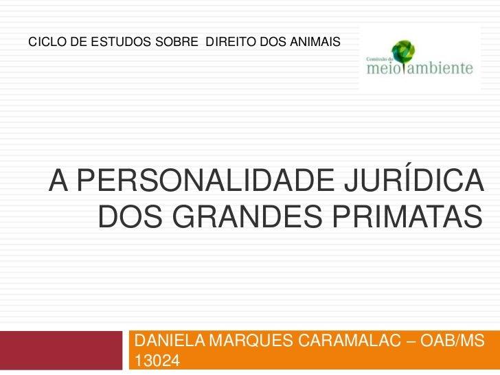 CICLO DE ESTUDOS SOBRE DIREITO DOS ANIMAIS  A PERSONALIDADE JURÍDICA     DOS GRANDES PRIMATAS              DANIELA MARQUES...