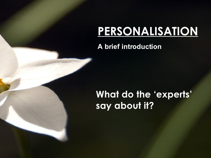 PERSONALISATION A brief introduction What do the 'experts' say about it?