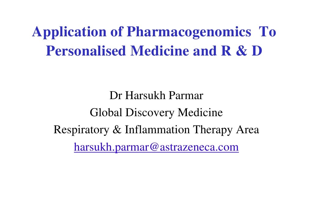 Personalised Medicine In R & D