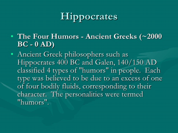 the four humors of hippocrates The ancient doctrine of the four humors, as illustrated in this fourteenth century manuscript (ms c 54, zentralbibliothek zurich, the four humors), stated that there were four basic human temperaments: melancholic, sanguine, phlegmatic, and choleric the elaborate doctrine of the four humors.