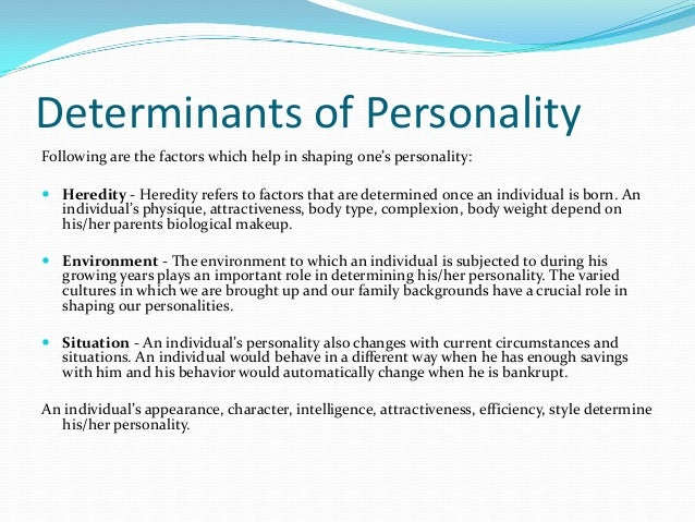 the determinants of personality development