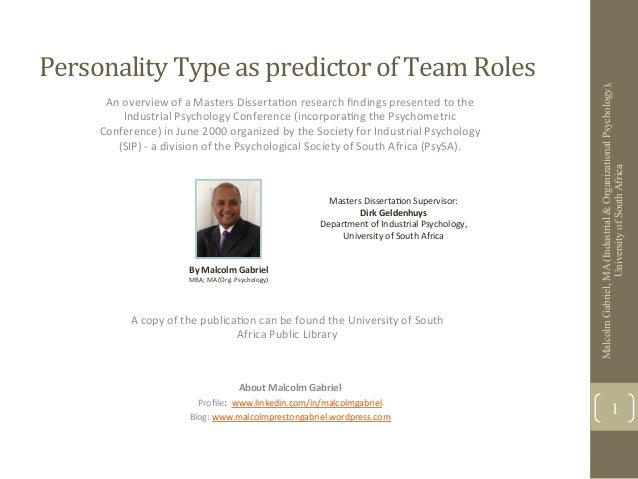 Personality Type as predictor of Team Roles                                                                 ...