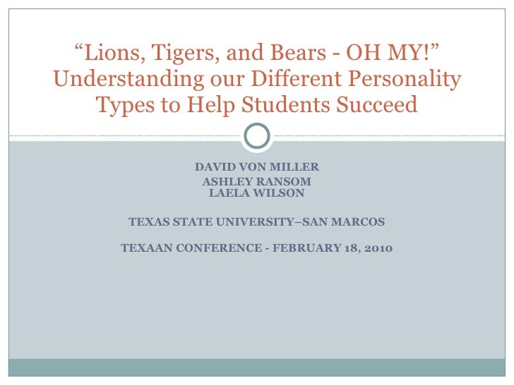 "DAVID VON MILLER ASHLEY RANSOM LAELA WILSON TEXAS STATE UNIVERSITY–SAN MARCOS TEXAAN CONFERENCE - FEBRUARY 18, 2010 "" Lion..."