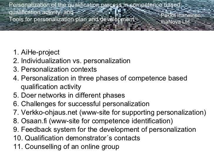 Personalization of the qualification process in competence based  qualification activity, and Tools for personalization pl...