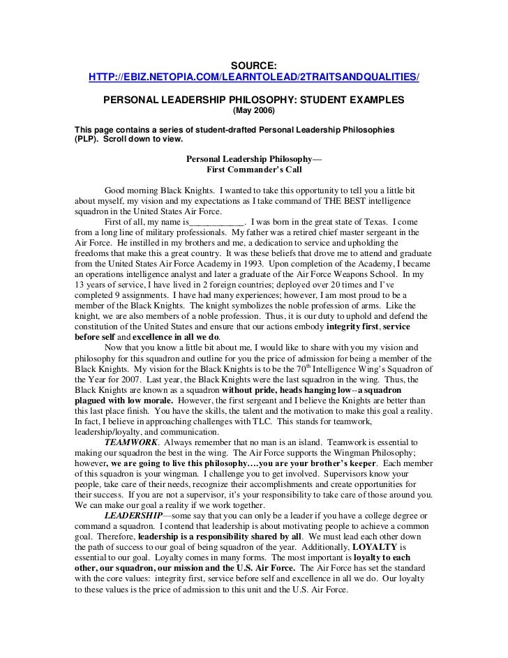 SOURCE:    HTTP://EBIZ.NETOPIA.COM/LEARNTOLEAD/2TRAITSANDQUALITIES/        PERSONAL LEADERSHIP PHILOSOPHY: STUDENT EXAMPLE...