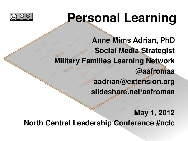 Personal Learning Anne Mims Adrian, PhD Social Media Strategist Military Families Learning Network @aafromaa aadrian@exten...