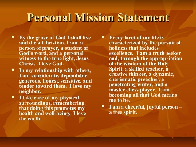writing a personal mission statement christian