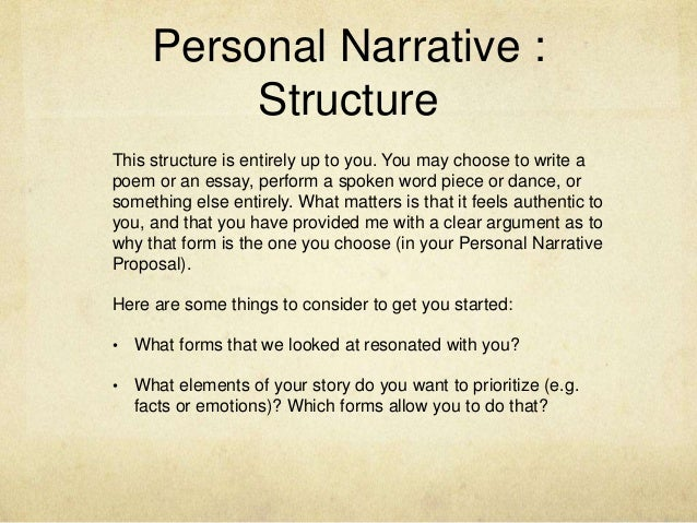 Personal narrative essay assignment