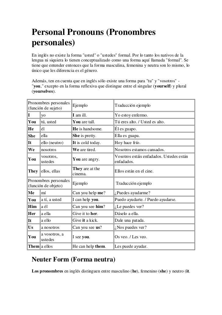 """Personal Pronouns (Pronombres     personales)     En inglés no existe la forma """"usted"""" o """"ustedes"""" formal. Por lo tanto lo..."""