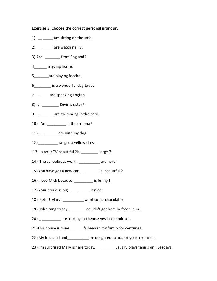 math worksheet : personal pronouns 1 : Personal Pronouns Exercises For ...