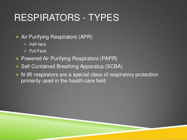 Air Purifying Respirators Types Respirators Types  Air