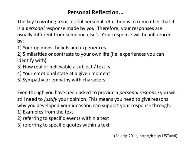 essay - Examples Of Self Reflection Essay