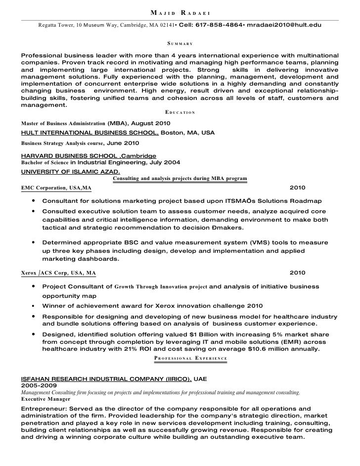 personal resume h p