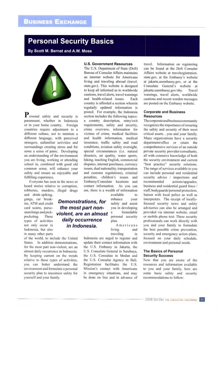 Personal Security Basics - AMCHAM Indonesia - The Executive Exchange Magazine