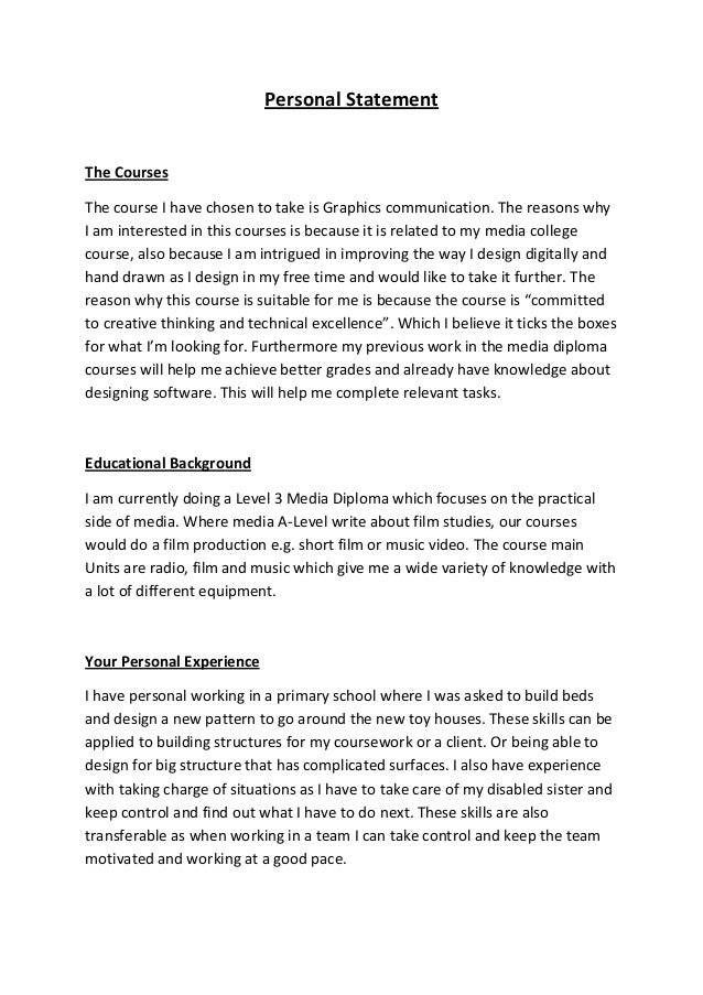 Statement Form Template Statement For Sixth Form