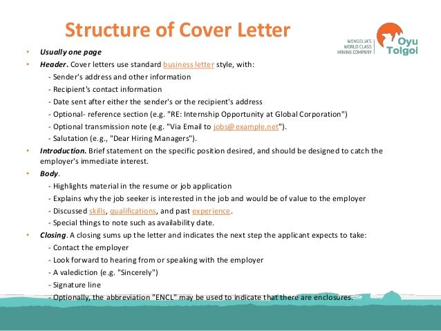 cover letter structure - Template
