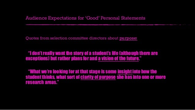 Really good personal statement