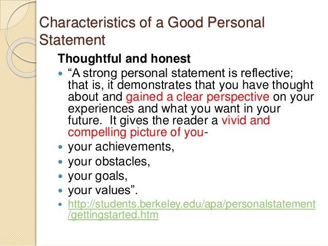 Good personal statement