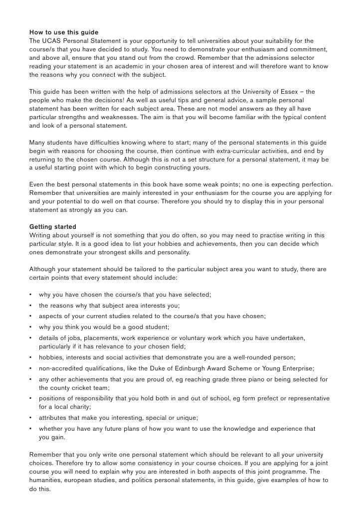 personal statement 6 essay Learn how to apply the six memorable techniques revealed in chip and dan heath's best-seller, made to stick, to your personal statement or application essay.